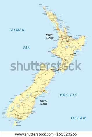 New zealand map stock images royalty free images vectors new zealand road map sciox Images