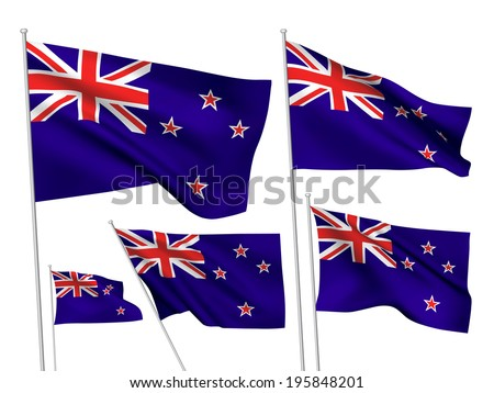 New Zealand vector flags. A set of 5 wavy 3D flags created using gradient meshes. - stock vector