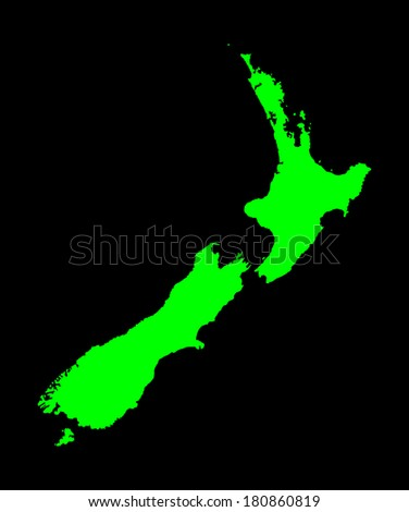 New Zealand vector map high detailed, isolated on black background.  - stock vector