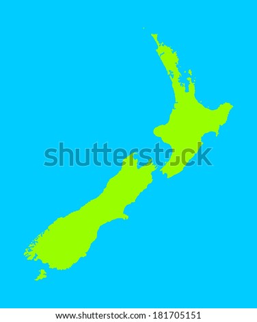 New Zealand vector map high detailed, isolated on blue background.  - stock vector