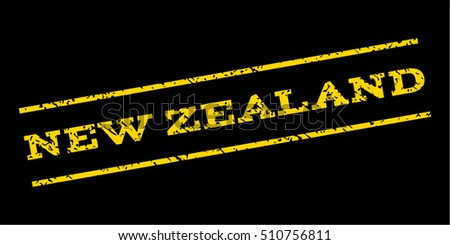 New Zealand watermark stamp. Text caption between parallel lines with grunge design style. Rubber seal stamp with dust texture. Vector yellow color ink imprint on a blue background.