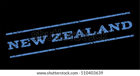 New Zealand watermark stamp. Text tag between parallel lines with grunge design style. Rubber seal stamp with unclean texture. Vector blue color ink imprint on a black background.