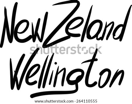New Zeland, Wellington, hand-lettered Country and Capital, handmade calligraphy, vector