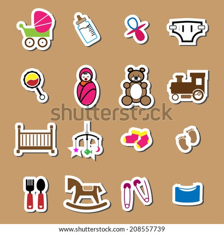 Newborn and baby color icons sticker set - stock vector