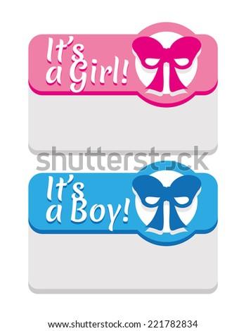 newborn announcement template cute girl boy stock vector 221782834