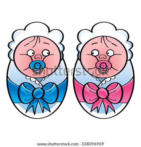 Newborn babies - baby boy and baby girl - stock vector