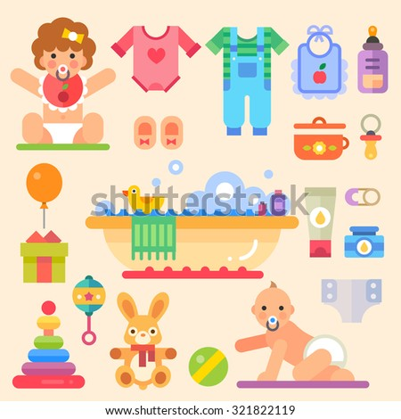Newborn babies with toys and stuff: romper suit, cute toy, pacifier, dummy, baby's booties, rattle, . Set of flat vector isolated colorful illustrations.