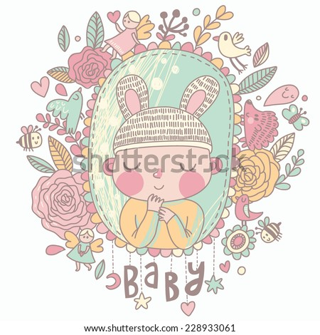Newborn baby card in pastel colors. Stylish shower card with baby boy, flowers, hearts, angel, birds, bees and other holiday elements. Cartoon vector background - stock vector