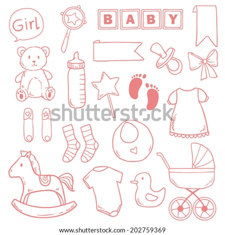 Newborn baby girl clip art with cute icons. Vector collection - stock vector