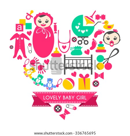 Newborn baby girl icons set. Cute cartoon items for little girl. Elements for baby shower day. Card design in form of heart. Childish things bed, buggy, clothes,  footprint, tracing of hand, rattle - stock vector