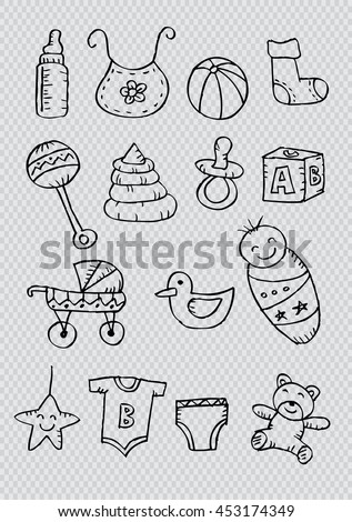 Newborn baby icons. Doodles style. - stock vector