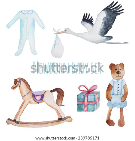 Newborn baby set. Watercolor hand drawn objects isolated on white background. Teddy bear, gift box, stork with baby, rocking horse, bodysuit. - stock vector
