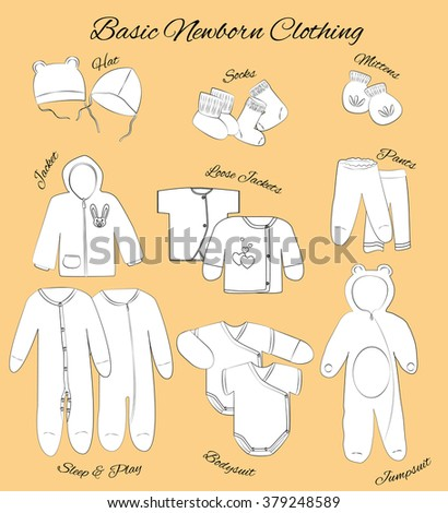 Newborn basic clothing set. Comfortable babies clothes from first days. Hats, mittens, socks, jacket, loose jackets, pants, sleep and play, bodysuits, and jumpsuit. - stock vector
