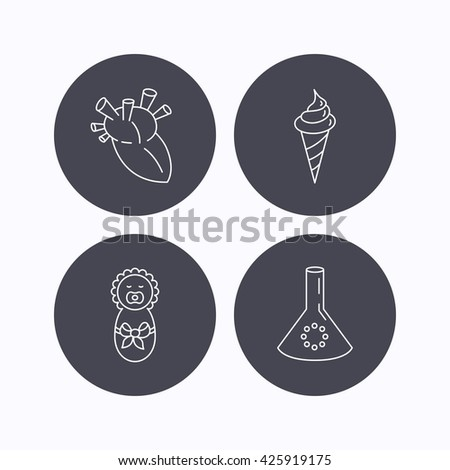 Newborn, heart and lab bulb icons. Ice cream linear sign. Flat icons in circle buttons on white background. Vector