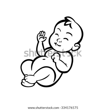 newborn little baby smiling with small arms and legs - stylized art for logos, signs, icons and design cards, invitations and baby shower - stock vector