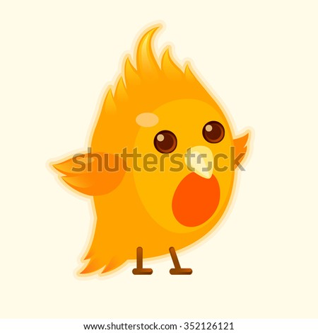Newborn phoenix. Chick - stock vector