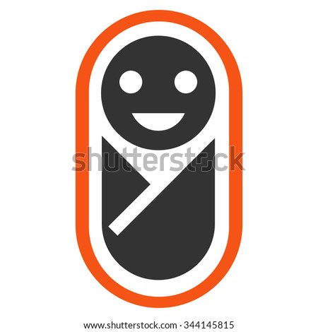 Newborn vector icon. Style is bicolor flat symbol, orange and gray colors, rounded angles, white background.