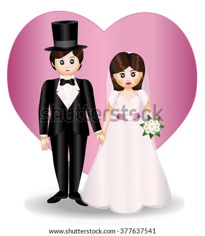 newlyweds - stock vector