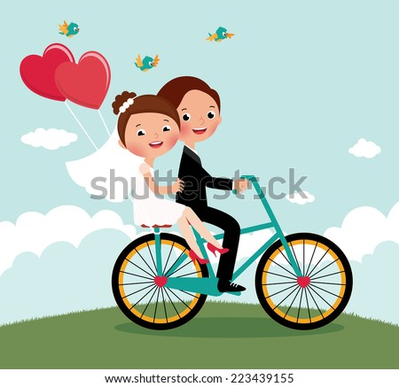 Newlyweds on a bike ride on a honeymoon/Newlyweds  bike/The bride and groom on a bicycle on a background summer landscape - stock vector