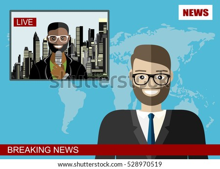 News anchor broadcasting the news with a reporter live on screen vector illustration
