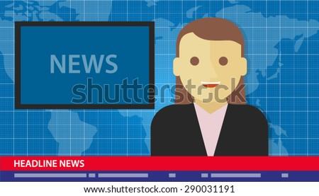news anchor woman headline tv - stock vector