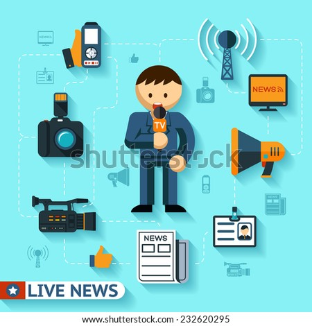 news and mass media vector concept, journalist and journalism flat icons - stock vector