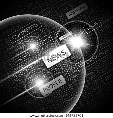 NEWS. Background concept wordcloud illustration. Print concept word cloud. Graphic collage with related tags and terms. Vector illustration.  - stock vector