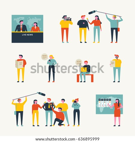 news broadcast people vector illustration flat design