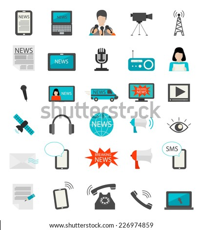 News cast journalism television radio press conference concept, vector illustration. Icons set in flat design style: spokesperson, camera, interview, microphone, tv, mobile, phone etc.  - stock vector