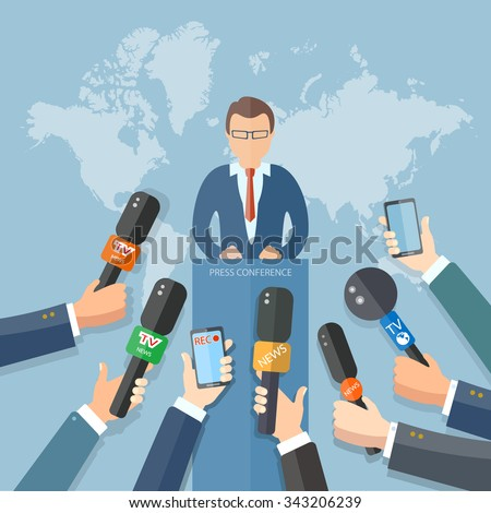 News conference world live tv hands of journalists microphones interview concept - stock vector