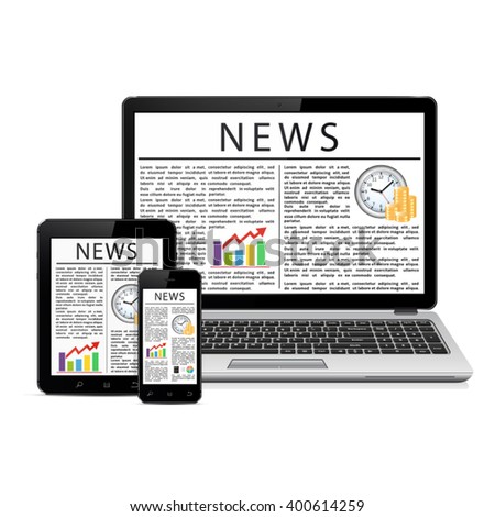 News feed on modern mobile devices - stock vector