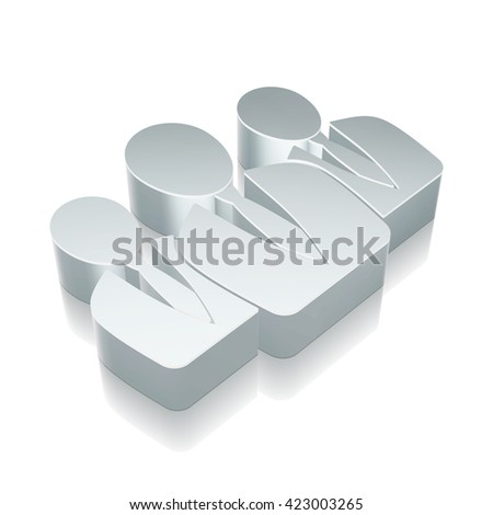 News icon: 3d metallic Business People with reflection on White background, EPS 10 vector illustration. - stock vector