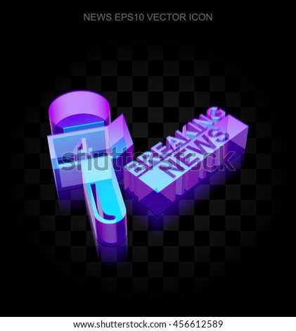 News icon: 3d neon glowing Breaking News And Microphone made of glass with transparent shadow on black background, EPS 10 vector illustration. - stock vector