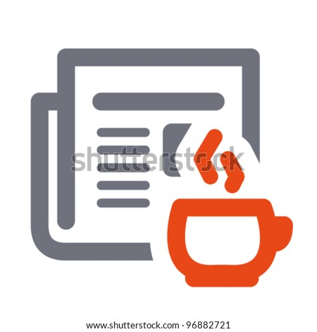 News icon: daily newspaper and hot coffee. Aligned according to pixel grid. Specially for Web and small-sizes - stock vector
