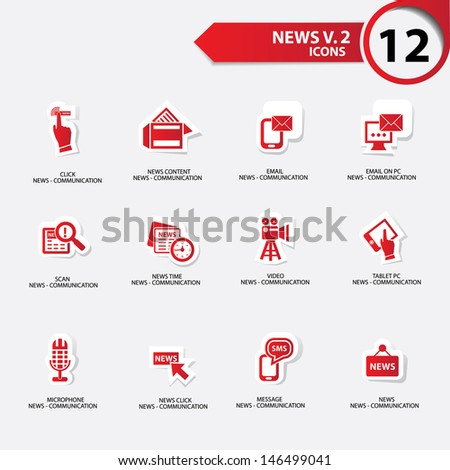 News icon set 2,red version vector - stock vector