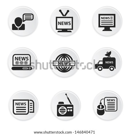 News icons,on white background vector - stock vector