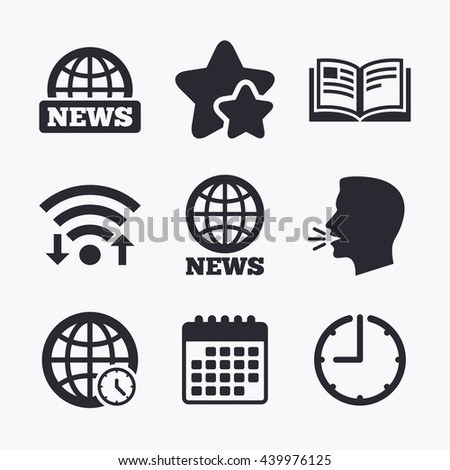 News icons. World globe symbols. Open book sign. Education literature. Wifi internet, favorite stars, calendar and clock. Talking head. Vector - stock vector