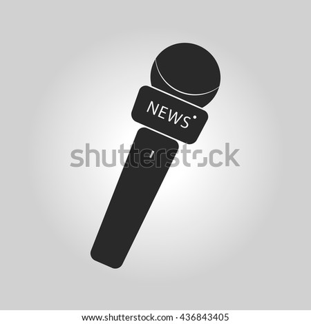 News microphone icon with simple button and lettering. Vector illustration - stock vector