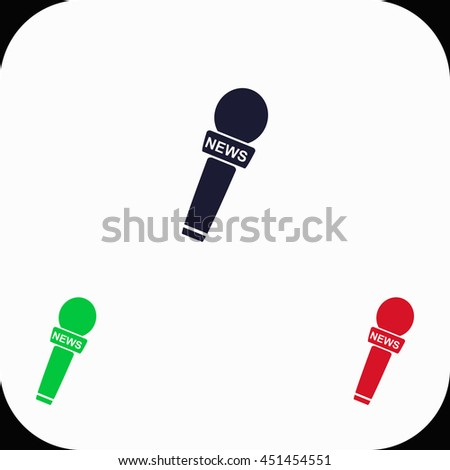 News microphone Illustration set. Blue, green, red icon. - stock vector