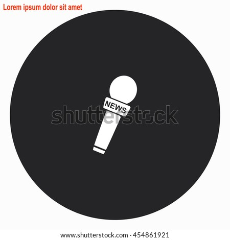 News microphone web icon. Gray circle button with white illustration. - stock vector