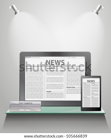 News on generic Tablet PC on shelves for exhibit. Vector illustration.