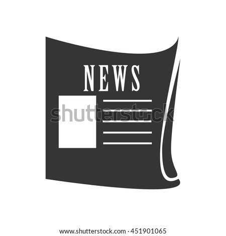 News paper in black and white colors isolated flat icon, vector illustration. - stock vector