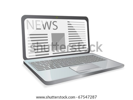 news paper on laptop screen isolated on white background