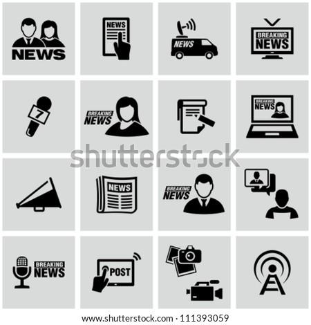 News reporter icons set. - stock vector