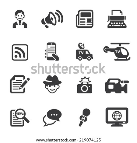News Reporter Silhouette icons - stock vector