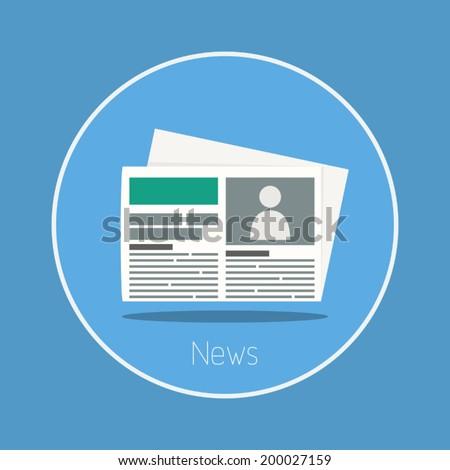 News : Vector newspaper icon flat design - stock vector