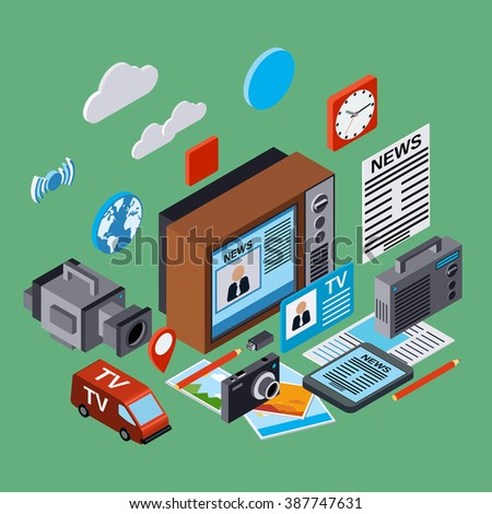 Newscast, information, broadcasting, journalism, mass media flat 3d isometric illustration. Modern web infographic concept - stock vector