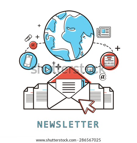 newsletter concept: ready to send an e-mail in line style - stock vector