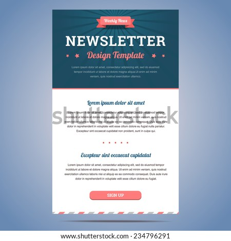 Newsletter design template weekly company news stock vector royalty newsletter design template for weekly company news with header and sign up button vector illustration spiritdancerdesigns
