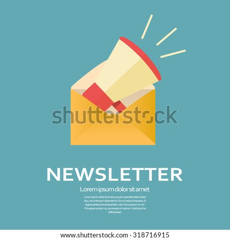 Newsletter flat design icon. Megaphone in an envelope for business e-mail template. Promotional announcement symbol. Eps10 vector illustration. - stock vector